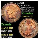 1902 Indian 1c Grades Gem+ Unc RB