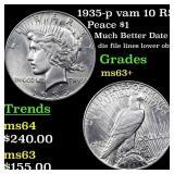 1935-p vam 10 R5 Peace $1 Grades Select+ Unc