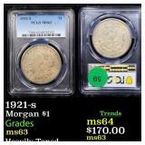 1921-s Morgan $1 Graded ms63