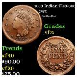 1863 Indian F-63-366a cwt Grades vf++