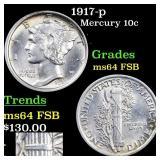 1917-p Mercury 10c Grades Choice Unc FSB