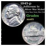 1945-p Jefferson 5c Grades GEM Unc