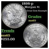 1898-p Morgan $1 Grades GEM Unc