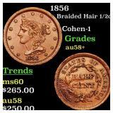 1856 Braided Hair 1/2c Grades Choice AU/BU Slider+