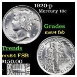 1920-p Mercury 10c Grades Choice Unc FSB