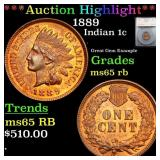 *Highlight* 1889 Indian 1c Graded ms65 rb
