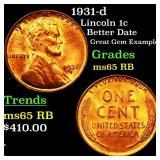 1931-d Lincoln 1c Grades GEM Unc RB