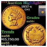 *Highlight* 1857-s G$3 Graded au55+