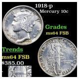1918-p Mercury 10c Grades Choice Unc FSB