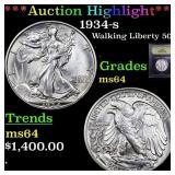 *Highlight* 1934-s Walking Liberty 50c Graded Choi
