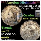 *Highlight* 1811 Small 8 O-111 Capped Bust 50c Gra