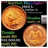 *Highlight* 1864 L Indian 1c Graded ms65+ rd