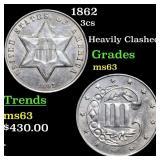 1862 3cs Grades Select Unc