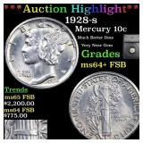 *Highlight* 1928-s Mercury 10c Graded ms64+ FSB