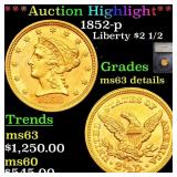 *Highlight* 1852-p Liberty $2 1/2 Graded ms63 deta