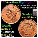 *Highlight* 1835 Head of 36 N-14 Coronet Head 1c G