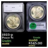 1923-p Peace $1 Graded ms66