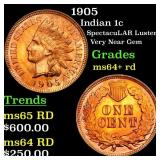 1905 Indian 1c Grades Choice+ Unc RD