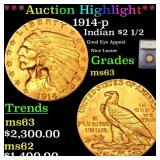 *Highlight* 1914-p Indian $2 1/2 Graded ms63