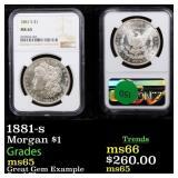 1881-s Morgan $1 Graded ms65