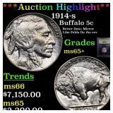 *Highlight* 1914-s Buffalo 5c Graded GEM+ Unc