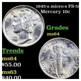 1945-s micro-s FS-512 Mercury 10c Grades Choice Un