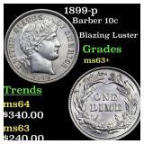 1899-p Barber 10c Grades Select+ Unc