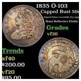 1835 O-103 Capped Bust 50c Grades vf++