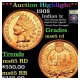 *Highlight* 1908 Indian 1c Graded GEM Unc RD