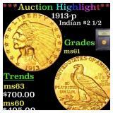 *Highlight* 1913-p Indian $2 1/2 Graded BU+