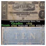 1864 $10 Confederate Note, T68 Grades vf+