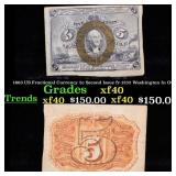1863 US Fractional Currency 5c Second Issue fr-123