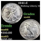1941-d Walking Liberty 50c Grades GEM+ Unc
