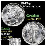 1943-p Mercury 10c Grades GEM++ FSB