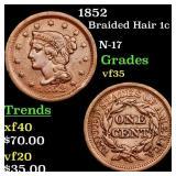 1852 Braided Hair 1c Grades vf++