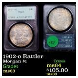 1902-o Rattler Morgan $1 Graded ms63