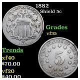 1882 Shield 5c Grades vf++