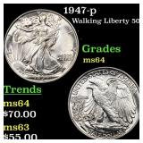 1947-p Walking Liberty 50c Grades Choice Unc