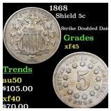 1868 Shield 5c Grades xf+