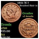 1851 N-7 Braided Hair 1c Grades vf details