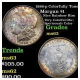 1886-p Colorfully Toned Morgan $1 Grades Select Un