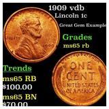 1909 vdb Lincoln 1c Grades GEM Unc RB
