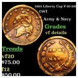 1863 Liberty Cap F-10-298a cwt Grades vf details