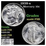 1938-s Mercury 10c Grades GEM+ FSB