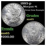 1885-p Morgan $1 Grades GEM Unc