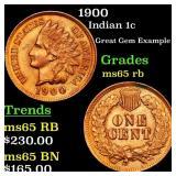 1900 Indian 1c Grades GEM Unc RB