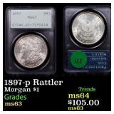1897-p Rattler Morgan $1 Graded ms63