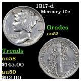 1917-d Mercury 10c Grades Select AU