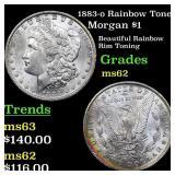 1883-o Rainbow Toned Morgan $1 Grades Select Unc