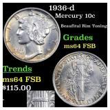 1936-d Mercury 10c Grades Choice Unc FSB